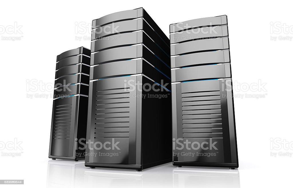 3D illustration of network workstation servers. stock photo