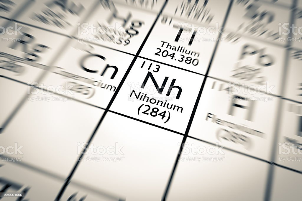 3D illustration of Nihonium chemical element stock photo