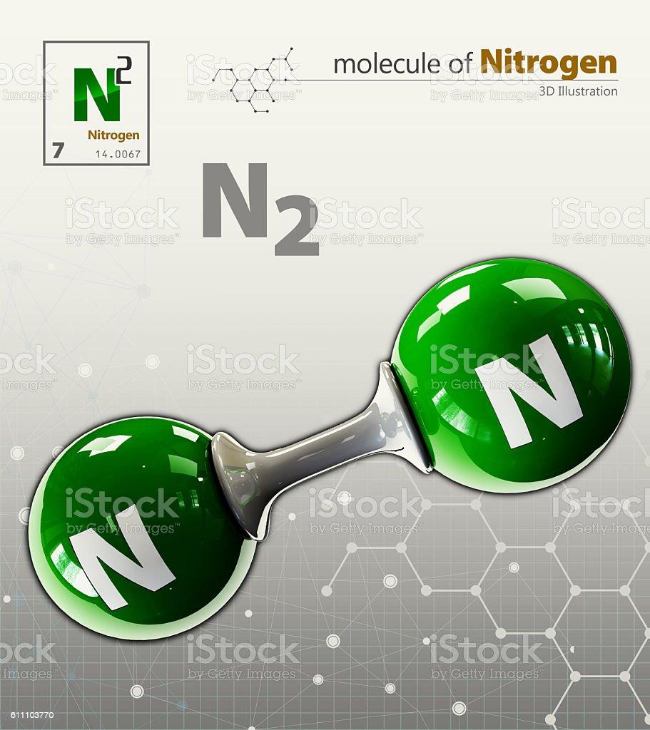 Illustration of Nitrogen Molecule isolated grey background stock photo