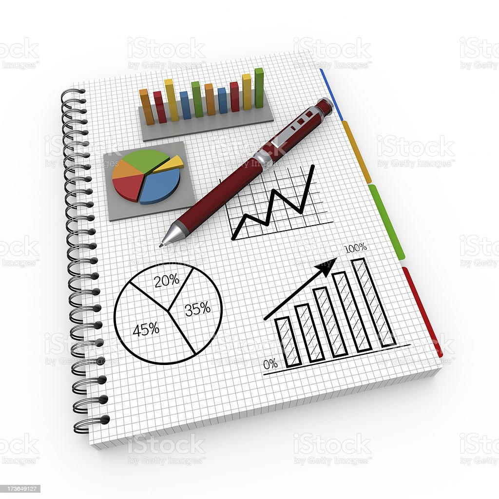 Illustration of notebook with charts and graphs and pen royalty-free stock photo