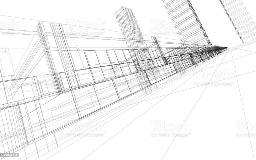 3D illustration of office building royalty-free stock photo
