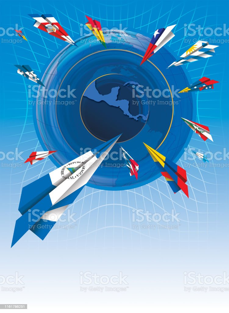 Illustration Of Painted Paper Airplanes With Flags Of ...
