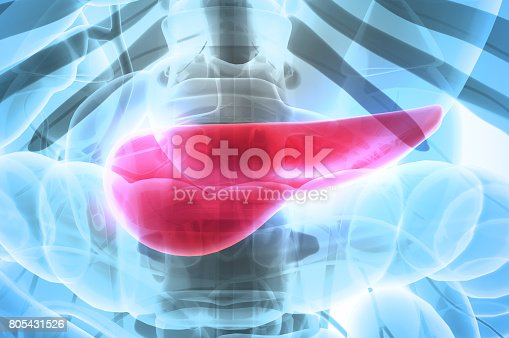 istock 3D illustration of Pancreas - part of digestive system. 805431526