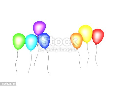3D illustration of party balloons. Isolated on white.