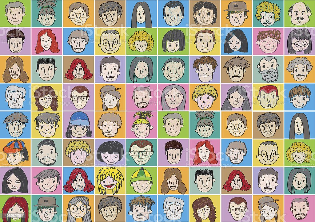 illustration of people faces stock photo