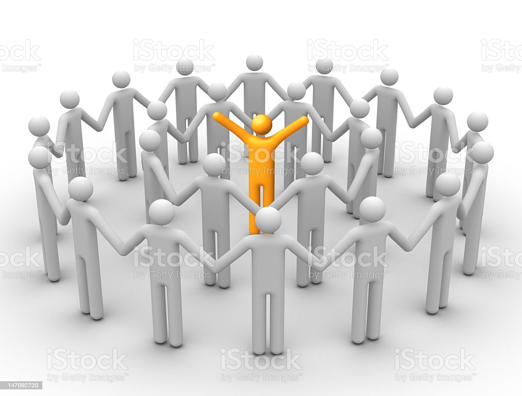 Illustration of people standing in concentric circles royalty-free stock photo