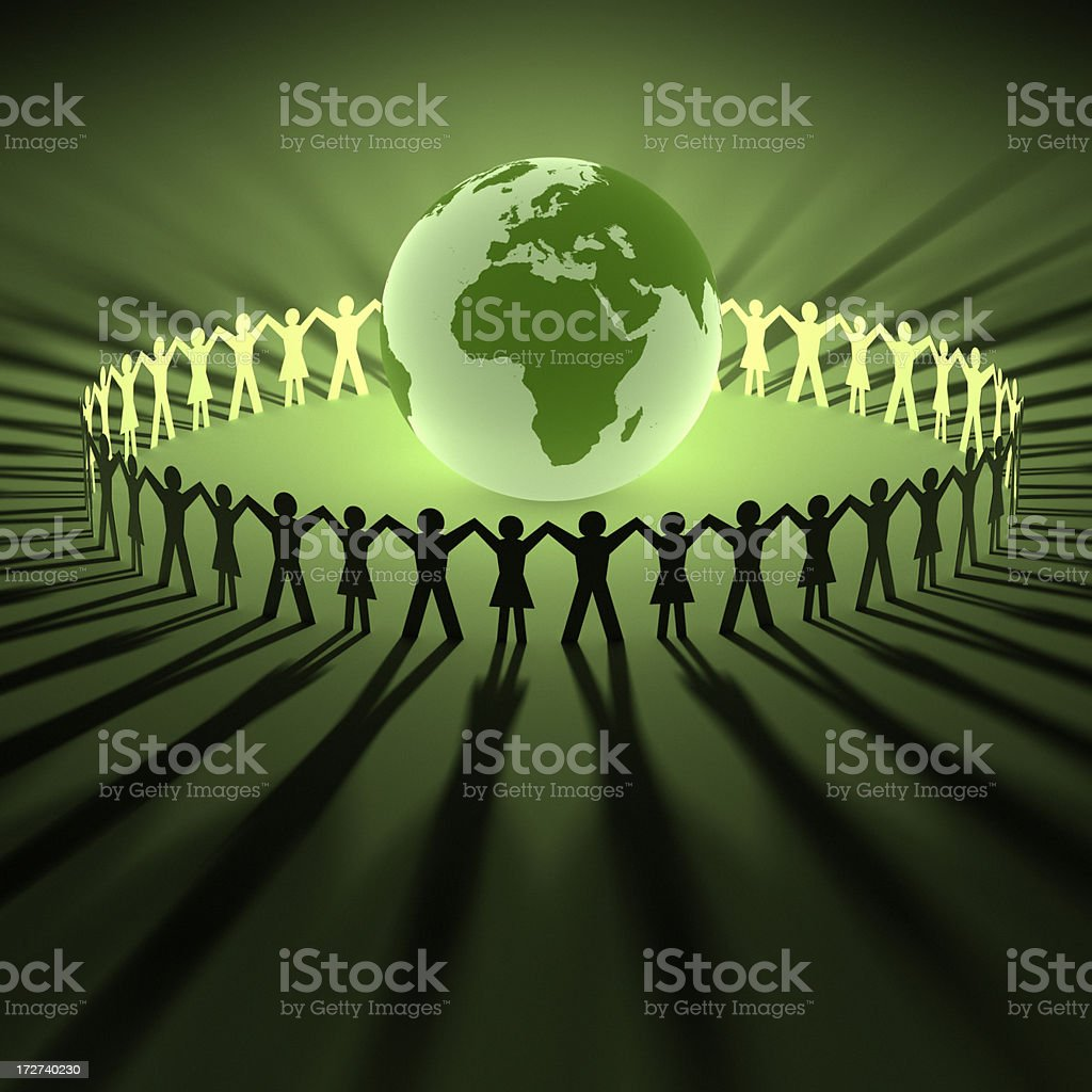 Illustration of people with joined hands around a globe royalty-free stock photo