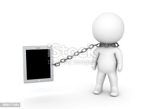 3D illustration of person addicted to internet and electronic devices. Image depicting smartphone and tablet addiction.