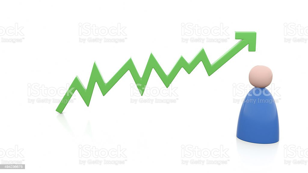 Illustration of positive chart with person stock photo