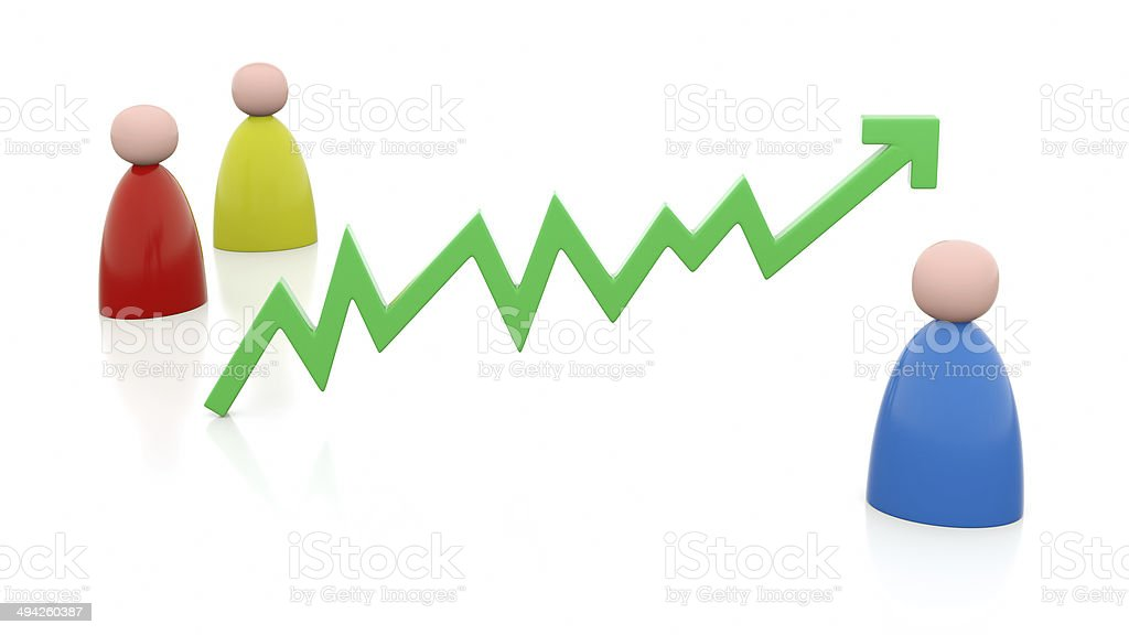 Illustration of positive chart with persons stock photo