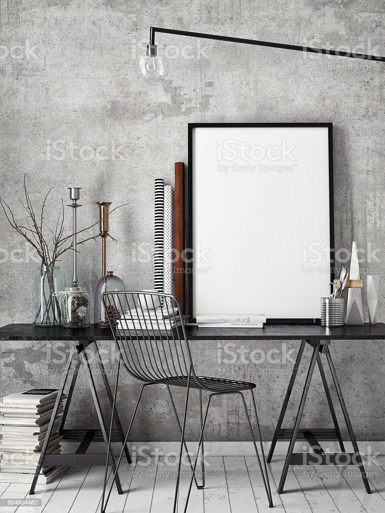 3d Illustration Of Poster Frame Template Workspace Mock Up Stock ...