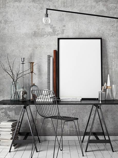 3 d illustration poster frame-vorlage, arbeitsplatz mock up - wandbilder selbst gestalten stock-fotos und bilder