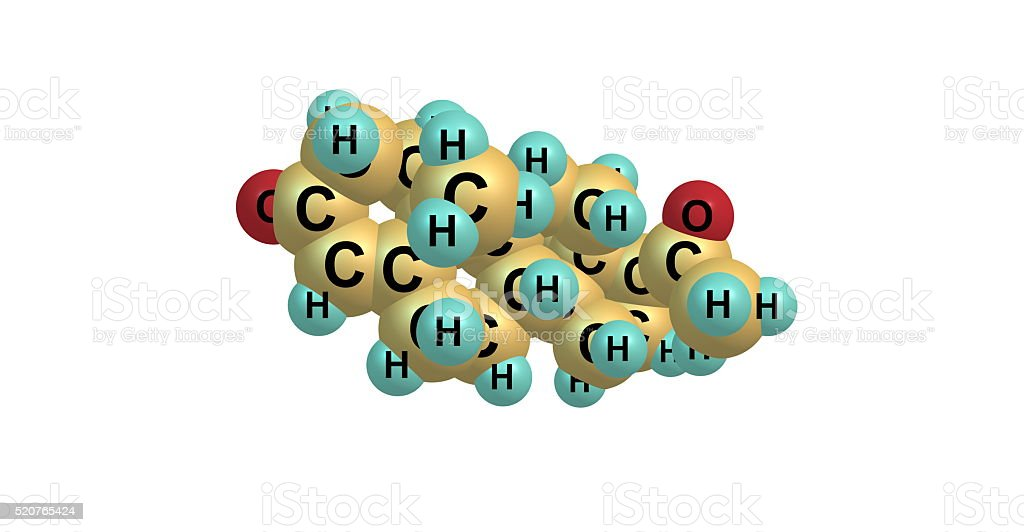 3D illustration of Progesterone molecular structure isolated on white stock photo