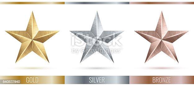 istock illustration of realistic metallic 3 stars 540522940