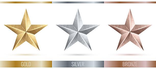 illustration eines realistische metallischen 3 Sterne – Foto