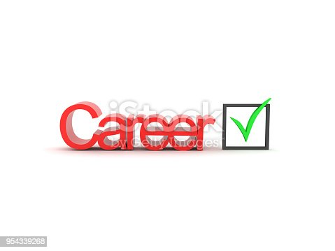 3D illustration of red Career text with green checkmark. Isolated on white.