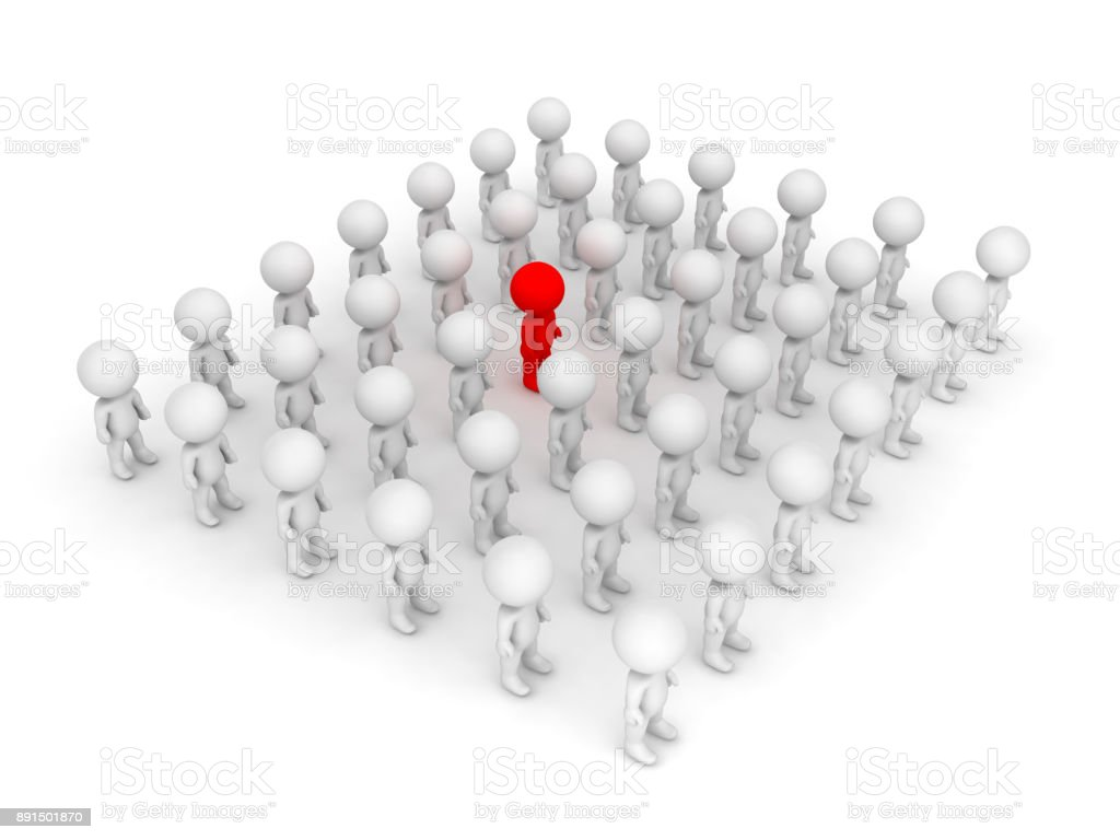 3D illustration of red character standing out of the crowd stock photo