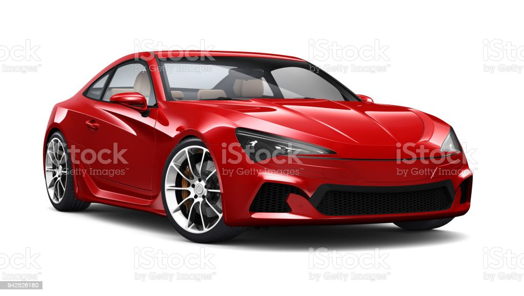 3D illustration of Red Generic Sports Coupe Car on white - fotografia de stock
