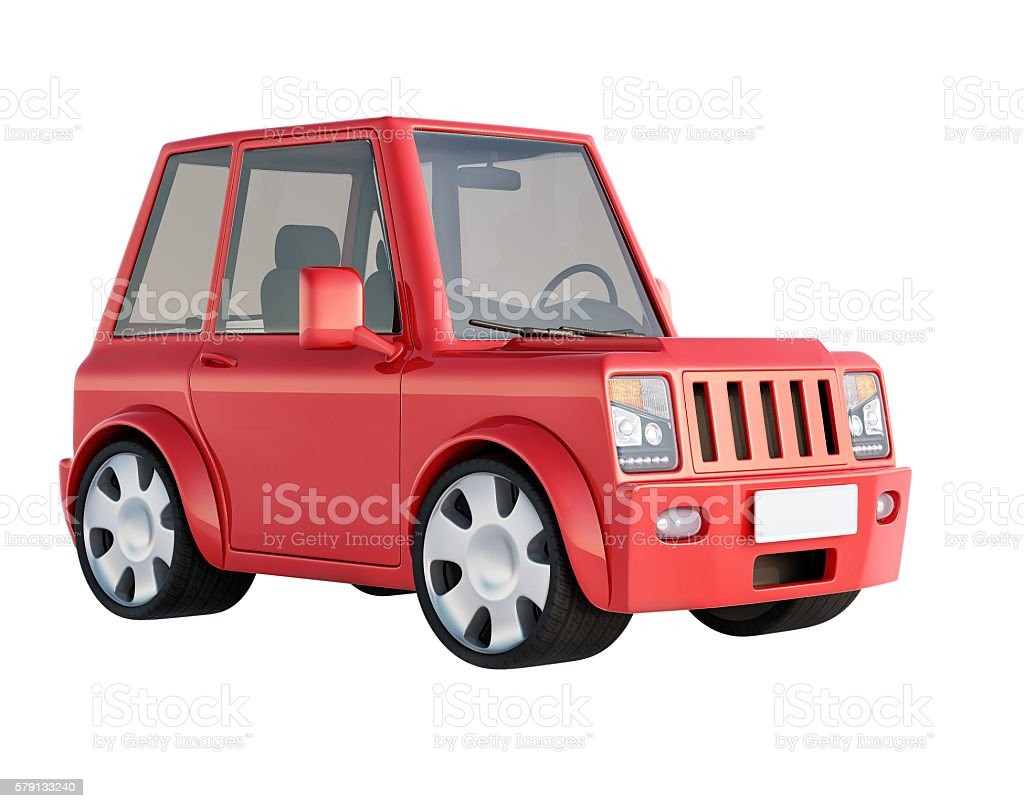 3D illustration of red SUV cartoon car views front perspective – Foto