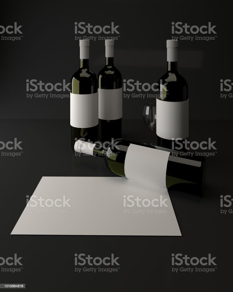 Illustration of red wine bottles with blank label. 3d rendering.