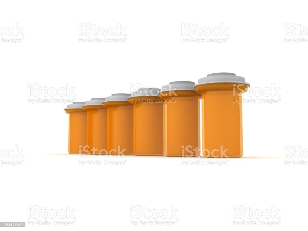 3D illustration of row of pharmaceutical bottles stock photo