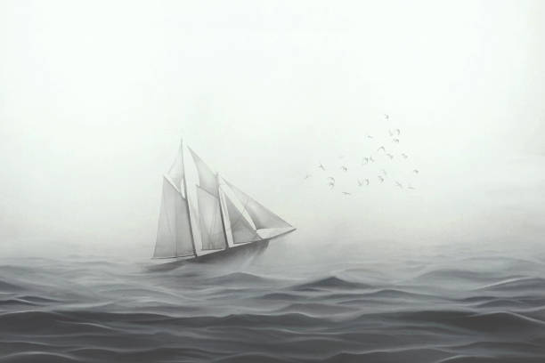 illustration of sailing ship facing the sea stock photo