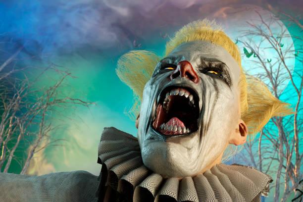 3d abbildung des beängstigend clown auf halloween-hintergrund - horror zirkus stock-fotos und bilder