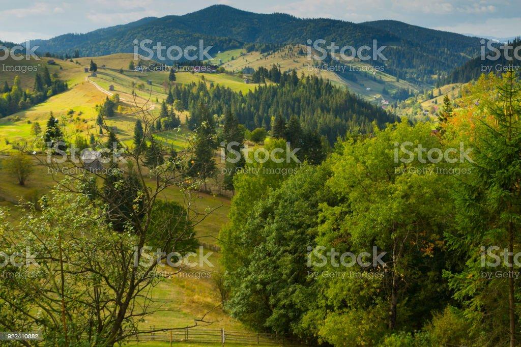 Illustration of scenic Karpaty mountains stock photo