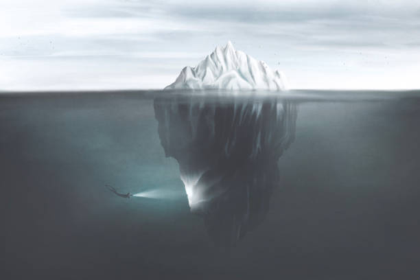 illustration of scuba diver with torch illuminating the dark side of the iceberg underwater, surreal mind concept stock photo