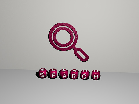 3D graphical image of SEARCH vertically along with text built by metallic cubic letters from the top perspective, excellent for the concept presentation and slideshows