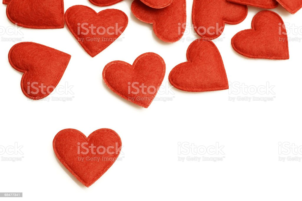 Illustration of several red hearts over a white background royalty-free stock photo