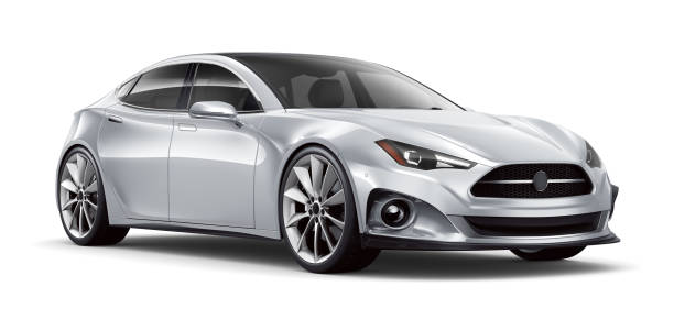 3D illustration of Silver Generic  Car on white 3D rendering of a generic car in studio environment concept car stock pictures, royalty-free photos & images