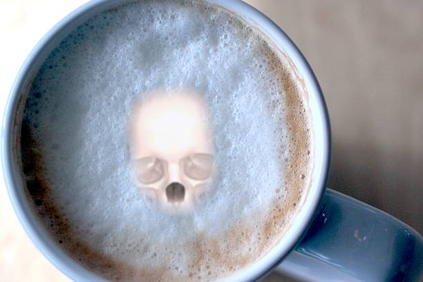 3d illustration of skull in coffee cup - coffe with death bildbanksfoton och bilder