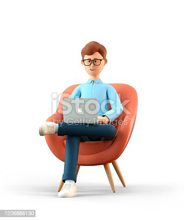3D illustration of smiling happy man with laptop sitting in armchair. Cartoon businessman working in office and using social networks, isolated on white background.