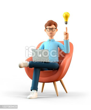 3D illustration of smiling man with laptop and bulb over head, sitting in armchair. Cartoon businessman creating new good ideas or thoughts, working in office, isolated on white.