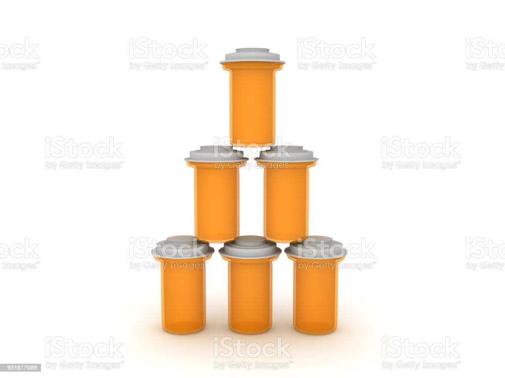 3D illustration of stack of orange pharmaceutical bottles stock photo