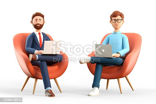 istock 3D illustration of startup concept and business teamwork. Two happy men with laptops sitting in armchairs. Cartoon businessmen working in office and using social networks. 1248415310