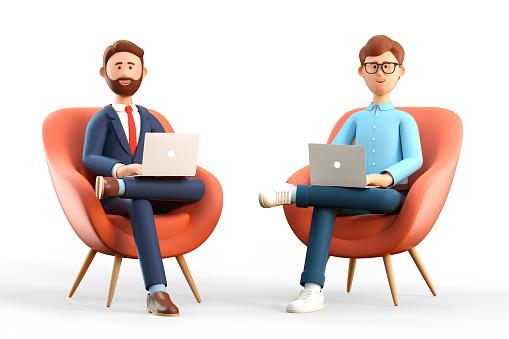 二人の男性ビジネスマンのイラスト|KEN'S BUSINESS|ケンズビジネス|職場問題の解決サイト