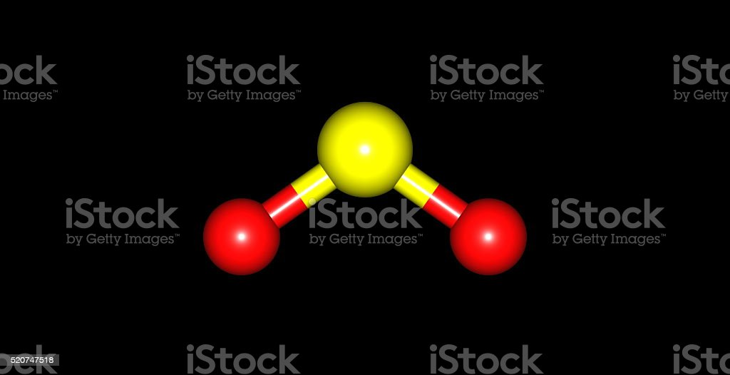 3D illustration of Sulfur dioxide molecular structure isolated on black stock photo