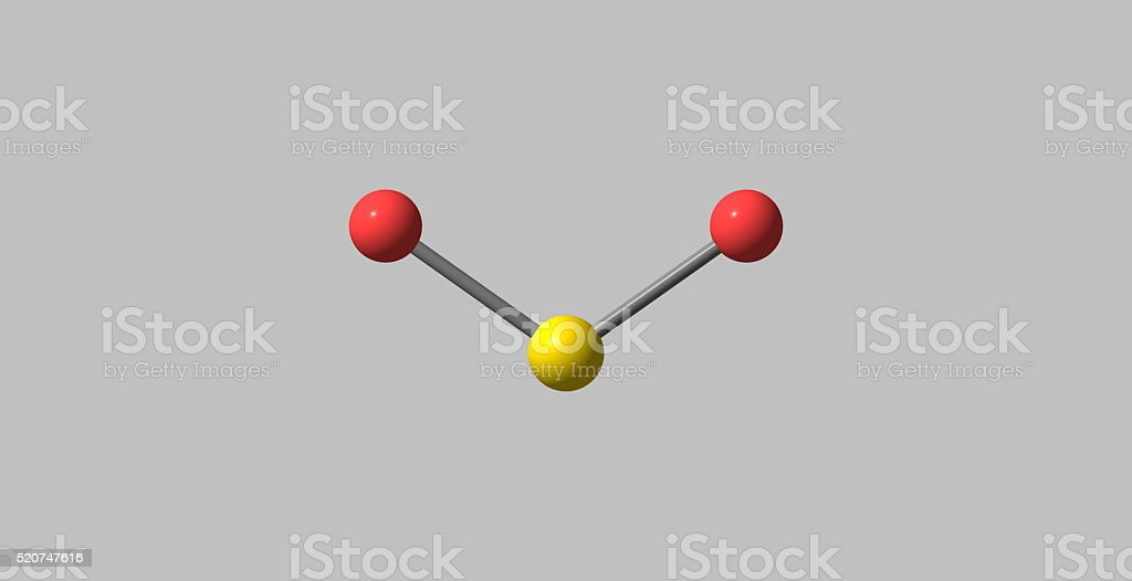 3D illustration of Sulfur dioxide molecular structure isolated on grey stock photo