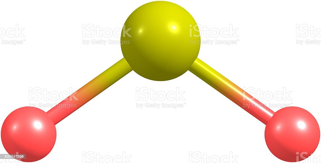 3D illustration of Sulfur dioxide molecular structure isolated on white stock photo