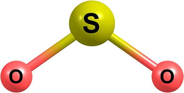 3 D Ilustracja Dwutlenek siarki struktury molekularnej odizolowane na białym – zdjęcie