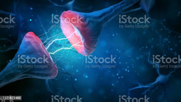Illustration Of Synapse And Neuron On A Blue Background Stock Photo - Download Image Now