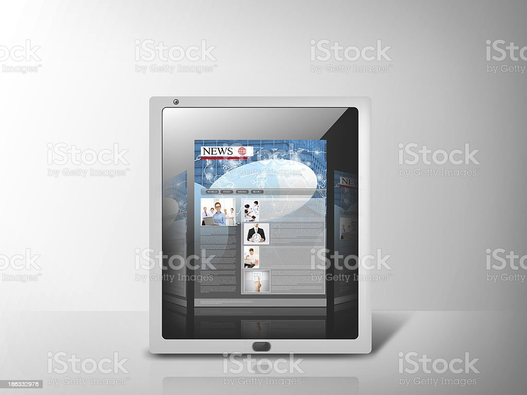 illustration of tablet pc with news app royalty-free stock photo