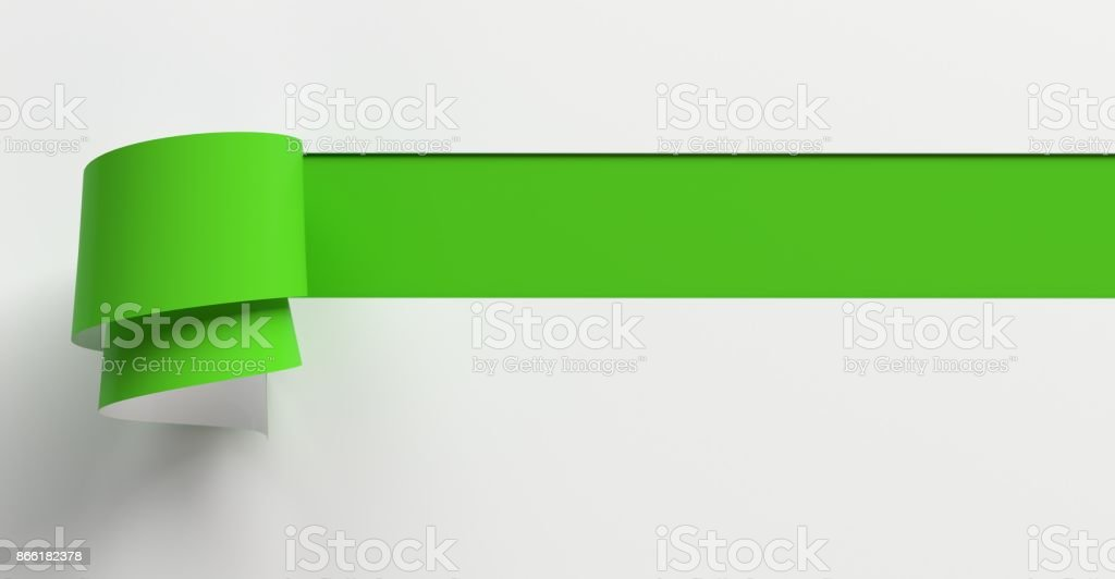 Illustration of tear paper, torn or ripped paper effect from scratch on green paper background with copy space for your text stock photo