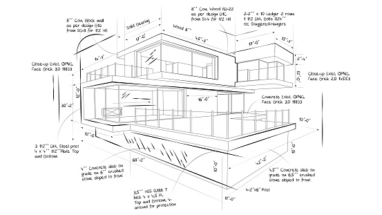Illustration of the blueprint of a beautiful modern house