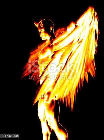 istock Illustration of the devil character in fire 917372134