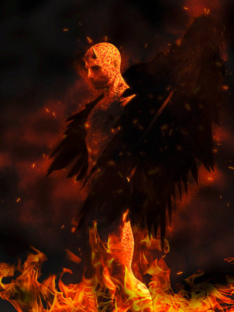 Illustration of the devil character in flames at dark background stock photo