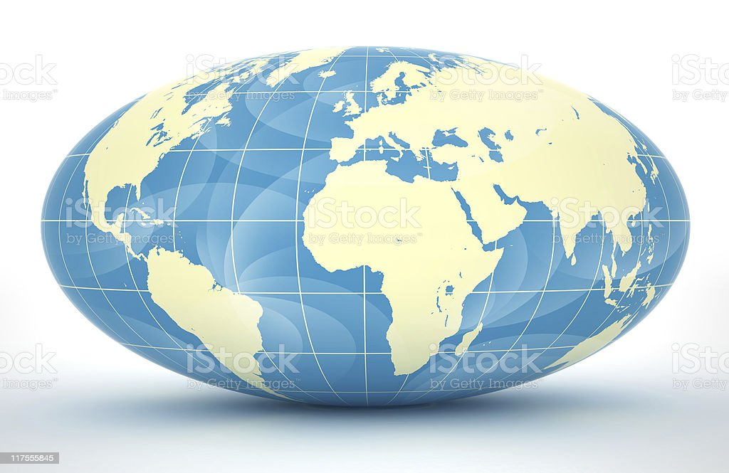 Illustration of the globe in blue and off-white colors stock photo