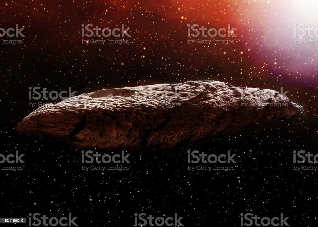 A 3D illustration of the interstellar object known as Oumuamua. Originally classified as an asteroid, Oumuamua is an object estimated to be about 230 by 35 meters (800 ft x 100 ft) in size, travelling through our solar system. stock photo